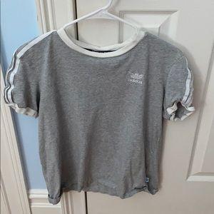 Adidas Gray & White Comfy Short Sleeve Tee Shirt